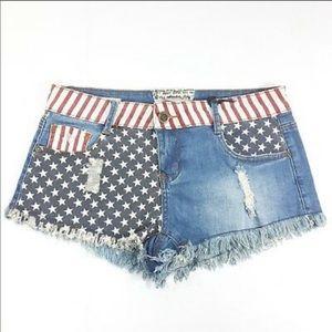 Hot Kiss American Flag Denim Jean Cut Off Shorts